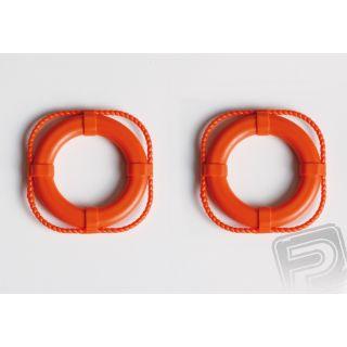 Záchranné kruhy 40 mm, oranžové, 2 ks.