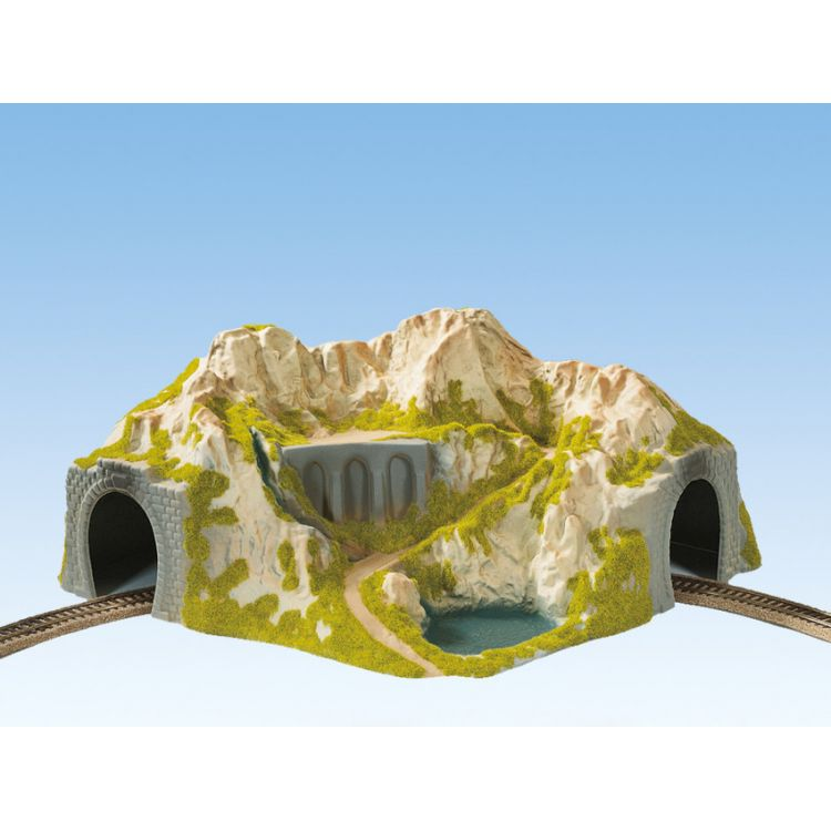 Hora s tunelom, oblúk, jednokoľajný 41 x 37 cm NO05130