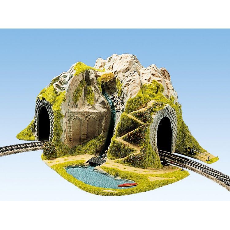 Hora s tunelom, oblúk, jednokoľajný 41 x 37 cm NO05170