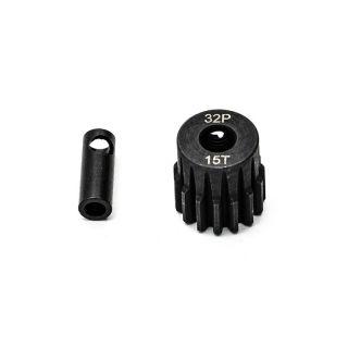Ocelový motorový pastorek 15 zubů, modul 32DP s 5mm vrtáním a 3,17mm adaptérem