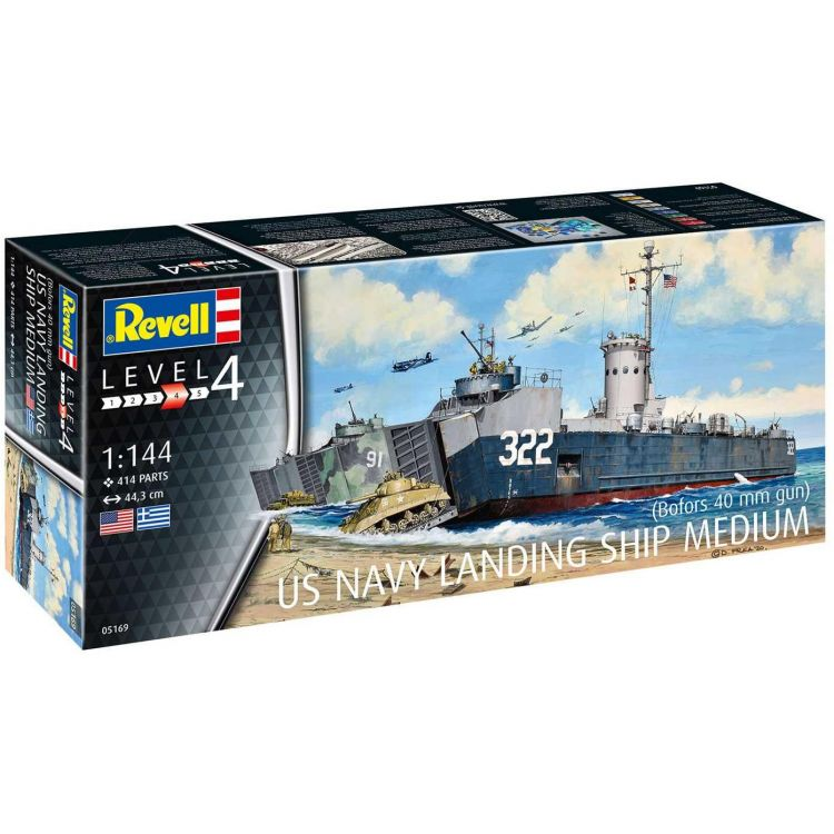 Plastic ModelKit loď 05169 - US Navy Landing Ship Medium (Bofors 40 mm gun) (1:144)