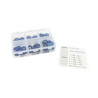 4mm sada podložek modré (6mm/8mm/10mm/12mm/14mm) plus M4 Matky v plastovém boxu