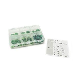 4mm sada podložek zelené(6mm/8mm/10mm/12mm/14mm) plus M4 Matky v plastovém boxu