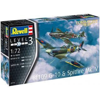 Plastic Modelkit letadla 03710 - Bf109G-10 & Spitfire Mk.V (1:72)