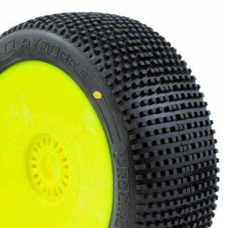 CLAYMORE V2 BUGGY C2 (SOFT) nalepené gumy, žluté disky (2 ks.)
