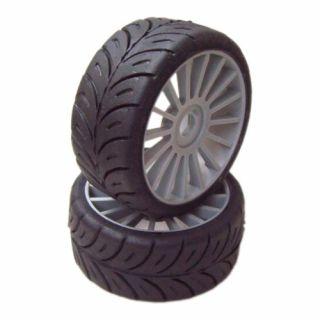 1/8 GT COMPETITION gumy SUPER SOFT nalepené gumy, šedé disky, 2ks.