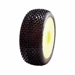 1/8 DEMOLITION COMPETITION OFF ROAD gumy nalepené gumy, HYPER SOFT směs, žluté disky, 2ks.