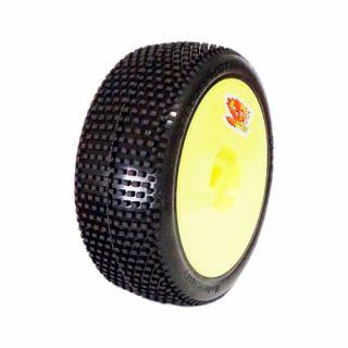 1/8 RICKY COMPETITION OFF ROAD gumy nalepené gumy, HYPER SOFT směs, žluté disky, 2ks.