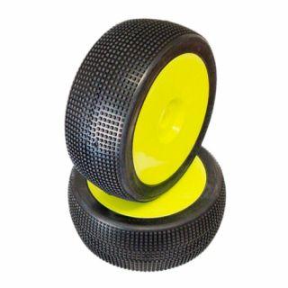 1/8 MICRO PIN COMPETITION OFF ROAD gumy nalepené gumy, SOFT směs, žluté disky, 2ks.