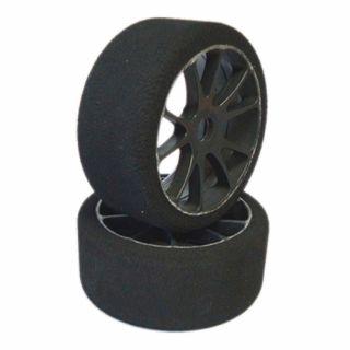 1/8 GT mechové gumy tvrdost: 37 Shore, nalepené gumy, černé disky, 2ks.