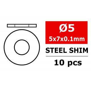 Ocelové vymezovací podložky/shim - 5x7x0,1mm - 10 ks.