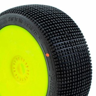 ADDICTIVE V2 BUGGY C3 (MEDIUM) nalepené gumy, žluté disky (2 ks.)