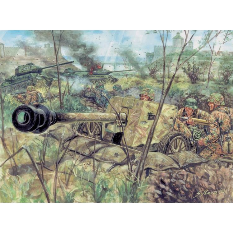 Model Kit figurky 6096 - WWII - GERMAN PAK40 AT GUN & CREW (1:72)