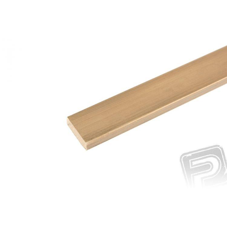 Mosazný profil, plochý, 6x2mm, 1m