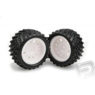 Nalepené gumy na bielych diskoch 2ks.