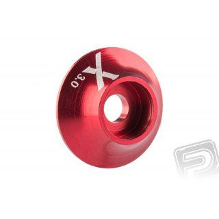 Kovová podložka s O-kroužkem (X logo) 3 mm, červená, 10.ks