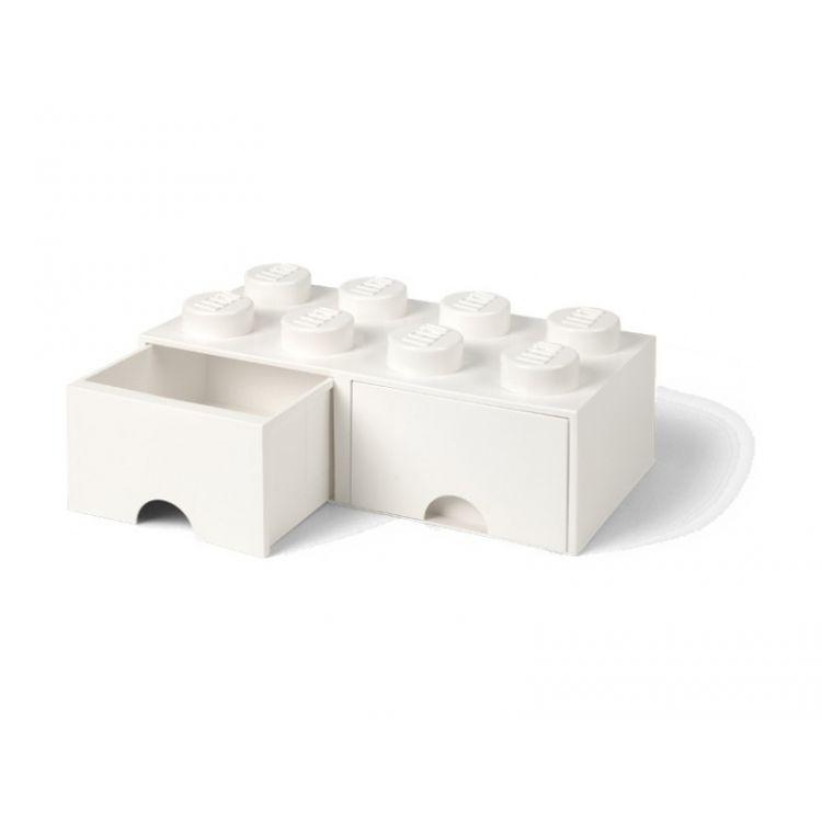 LEGO úložný box s šuplíky 250x500x180mm - bílý