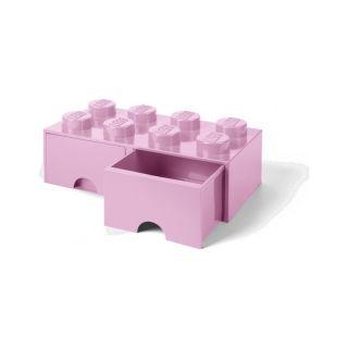 LEGO úložný box s šuplíky 250x500x180mm - světle růžový