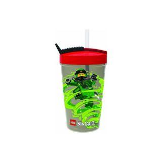 LEGO Ninjago láhev s brčkem - transparentní šedá