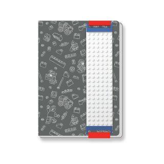 LEGO zápisník A5 s LEGO páskem šedý
