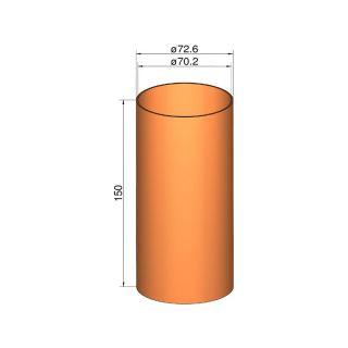 Klima Spojka 75mm trubek pr. 72.6mm x 150mm