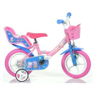 """DINO Bikes - Dětské kolo 12"""" Pepa Pig se sedačkou a košíkem"""