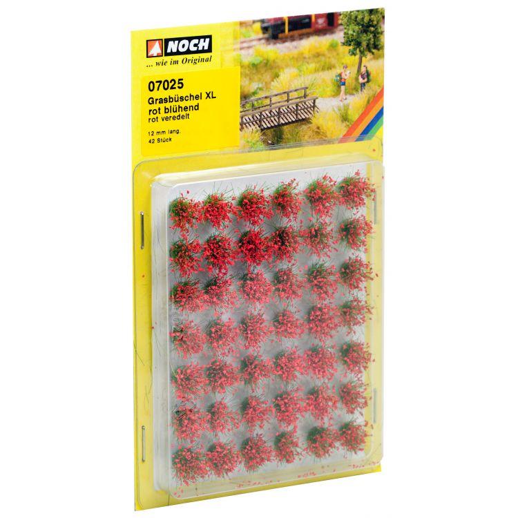 "Trávne trsy mini set XL ""Kvitnúce"", červené, 12mm"