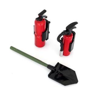 Hasící sada: 2x hasící přístroj včetně držáků a 1x lopata