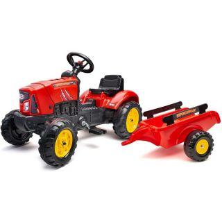 FALK - Šlapací traktor SuperCharger s vlečkou červený