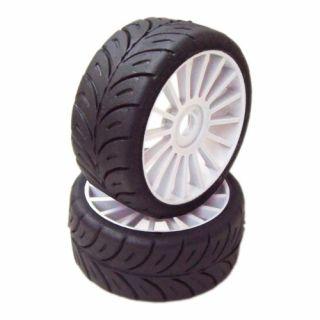 1/8 GT Sport gumy SOFT nalepené gumy, bílé disky, 2ks.