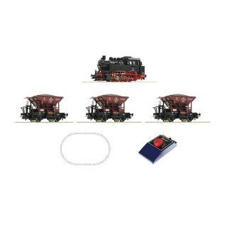 Analógová štartovacia sada: Parná lokomotíva triedy 80 s nákladnými vagónmi, DB