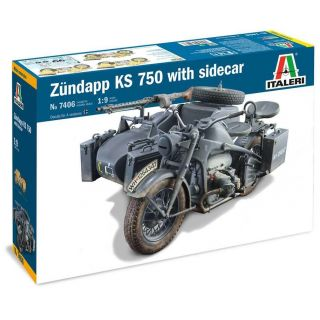 Model Kit military 7406 - Zundapp KS 750 with sidecar (1:9)