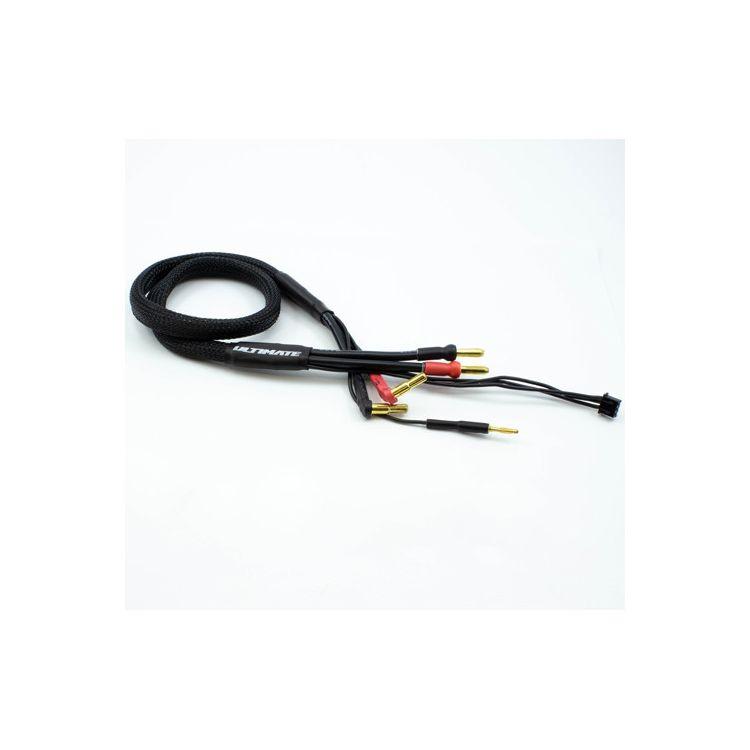 2S černý nabíjecí kabel G4/G5 v černé ochranné punčoše - dlouhý 60cm - (4mm, 3-pin XH)