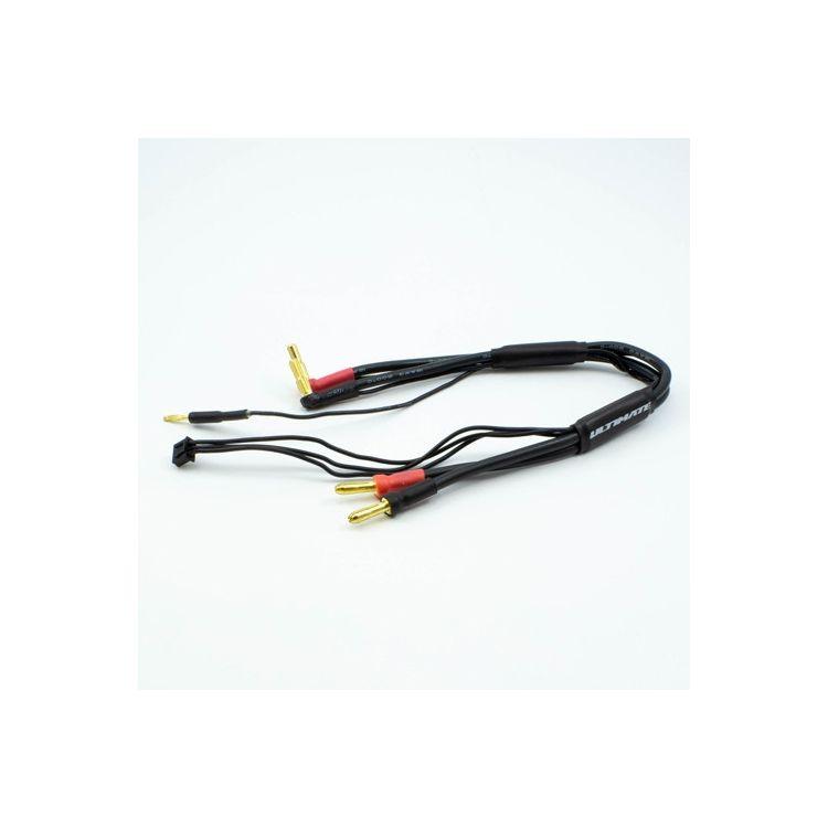 2S černý nabíjecí kabel G4/G5 v černé ochranné punčoše - dlouhý 30cm - (4mm, 3-pin XH)