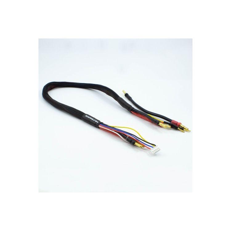 2 x 2S černý nabíj. kabel G4/G5 v černé ochranné punčoše - dlouhý 60cm - (4mm, 3-pin XH)