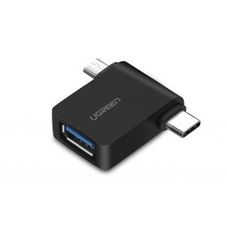 UGREEN redukce 2v1 USB-A na USB-C a Micro B, černá