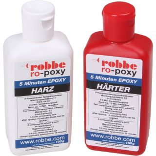 ROBBE RO-POXY 5 MINUTES EPOXY RESIN ADHESIVE 200G PER 100G RESIN+HARDENER