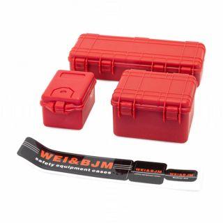 Sada 3 červených ochranných kufrů