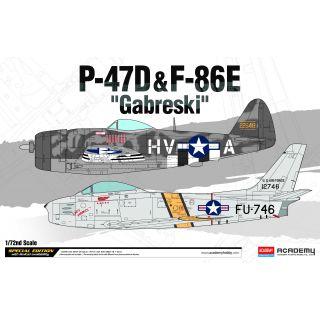 """Model Kit letadlo 12530 - P-47D & F-86E """"Gabreski"""" LE: (1:72)"""