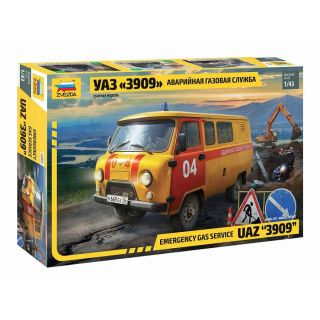 "Model Kit auto 43003 – Emergency gas service UAZ ""3909"" (1:43)"
