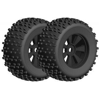 Off-Road 1/8 Monster nalepené gumy - Gripper - černé disky - 1 pár