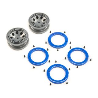 ECX Disk kola, beadlock šedý/modrý (2): 1:18 Temper G2