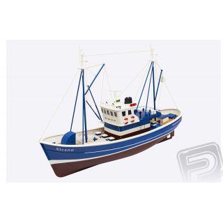 Elcano rybářský člun 1:25 modrý ARTR