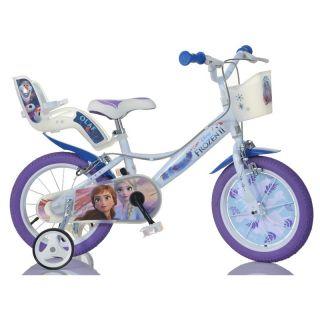"""DINO Bikes - Dětské kolo 14"""" Frozen 2 se sedačkou pro panenku a košíkem"""